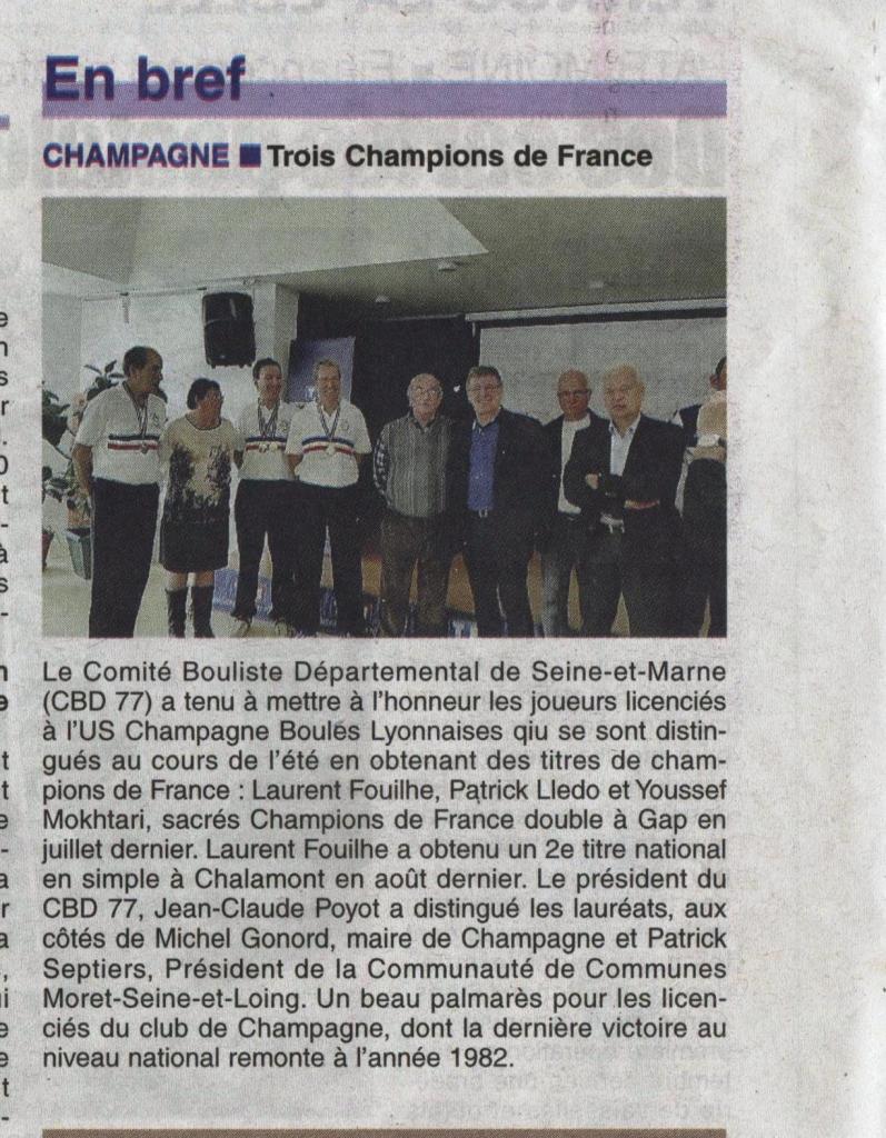 Champagne - article de la République de Seine et Marne