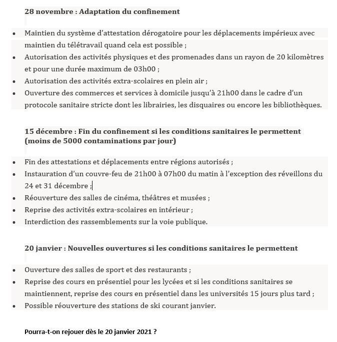 COVID19 : Nouvelles mesures au 28/11/2020